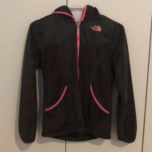 Girls The North Face fuzzy fleece hoodie